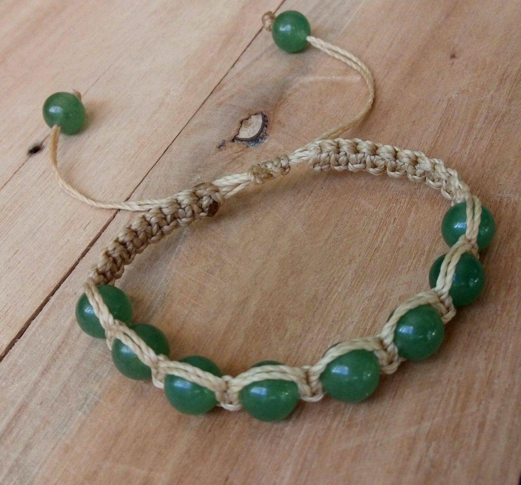 Pulseira shambala de quartzo verde