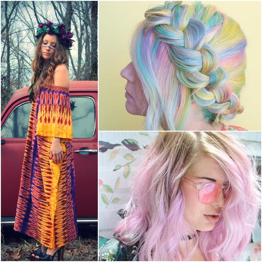 Tie Dye cabelo cabelo colorido tendência moda técnica2